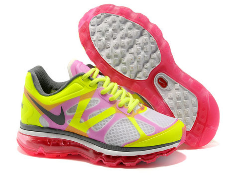 Womens Nike Air Max 2012 Pink Yellow White Grey Shoes Cheap Sales