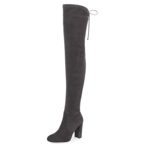 Dark Grey Long Boots Suede Thigh-high Boots for Women