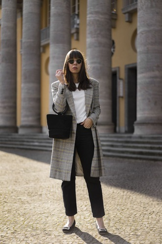coat plaid coat grey coat pants black pants black bag top shoes flats bag white top