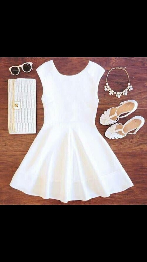 dress white white dress pretty cute accessories sunglasses shoes cute outfits short dress summer