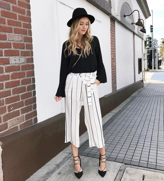 pants tumblr hat culottes cropped pants wide-leg pants stripes striped pants pumps pointed toe pumps high heel pumps top black top blouse black blouse spring outfits