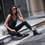 fashionedchic,blogger,jeans,shoes,bag,jewels,top,black top,black pants,ankle boots,grey bag,summer outfits,all black everything