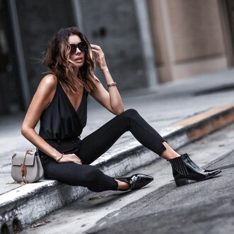 fashionedchic blogger jeans shoes bag jewels top black top black pants ankle boots grey bag summer outfits all black everything