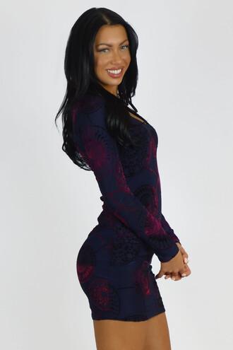 dress bodycon dress long sleeves fashion blue trendy hot girly pattern free vibrationz