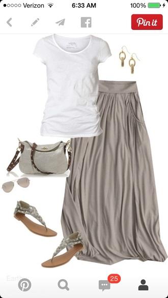 maxi maxi skirt gray loose flowing flows