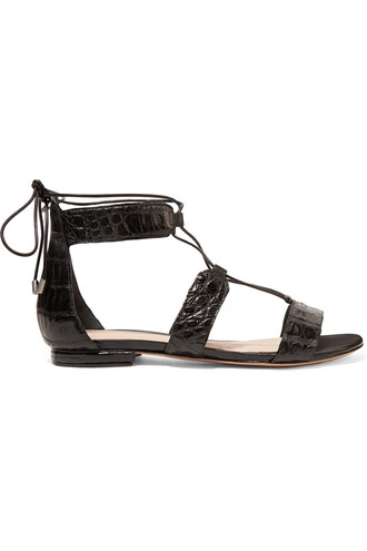 sandals lace crocodile black shoes