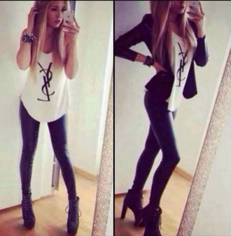 jacket skin tight black leather pants leather pants cardigan pants skinny pants tank top white top yves saint laurent
