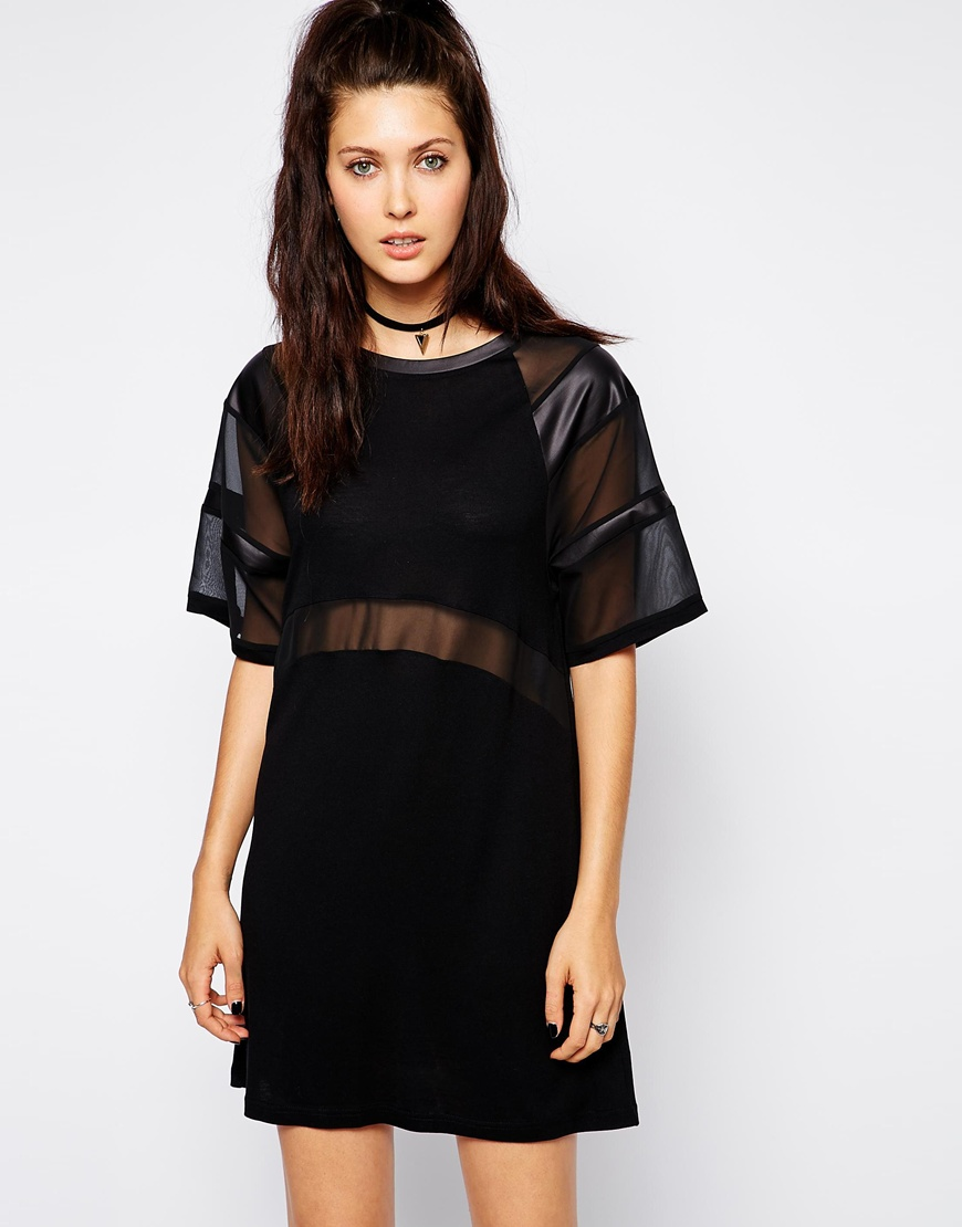The Ragged Priest T-Shirt Dress With Sheer Panel Detail at asos.com