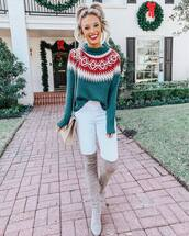 sweater,green sweater,white jeans,knee high boots,bag,winter outfits,winter sweater