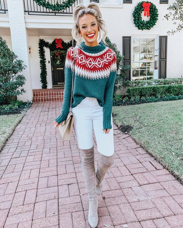 sweater green sweater white jeans knee high boots bag winter outfits winter sweater