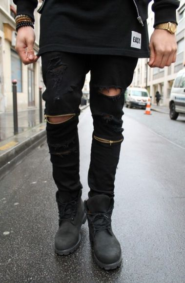 jeans menswear ripped jeans zipper jeans streetwear pants denim distressed jeans