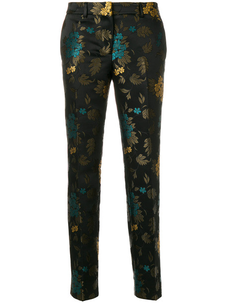 INCOTEX cropped women jacquard black pants