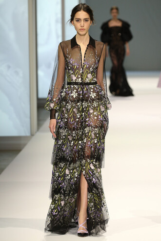 dress floral gown sheer fashion week 2015
