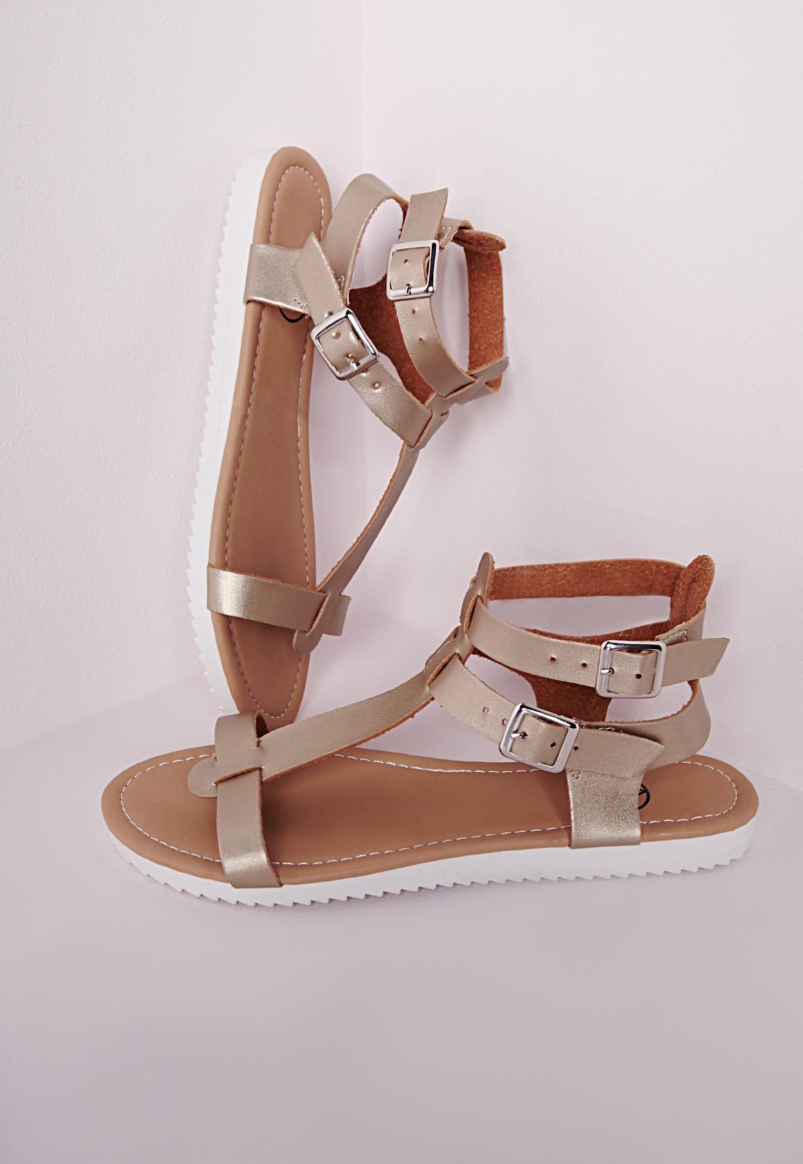 Flat Gladiator Sandal Gold - Shoes - Sandals