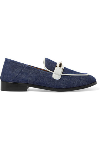 denim dark loafers leather shoes
