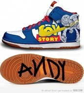 shoes,andy,blue,toy story,sneakers,buzz lightyear,nike sneakers