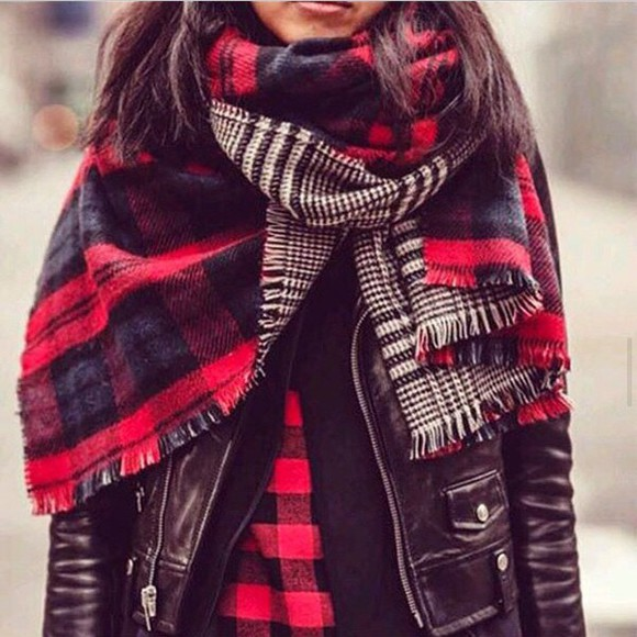black jacket leather jacket perfecto scarf red checkered shirt leather black perfecto rock