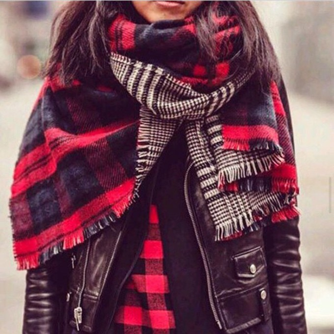 scarf jacket black leather shirt checkered rock leather jacket red perfecto black perfecto scarf red
