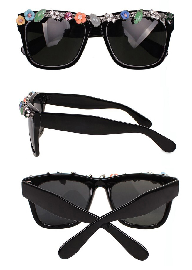 Cute Round Sunglasses with Rhinestone [gl00073] - PersunMall.com