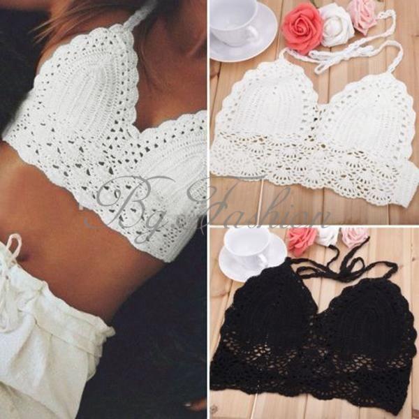 Sexy women handmade bikini crochet camisole knit tank crop tops boho beach wear