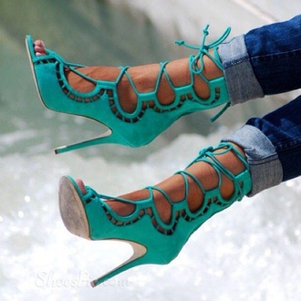 shoes sandals teal lace up