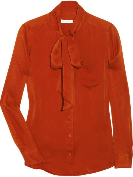 Equipment brett silk pussybow shirt in orange