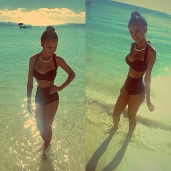 swimwear black bikini high waisted bikini