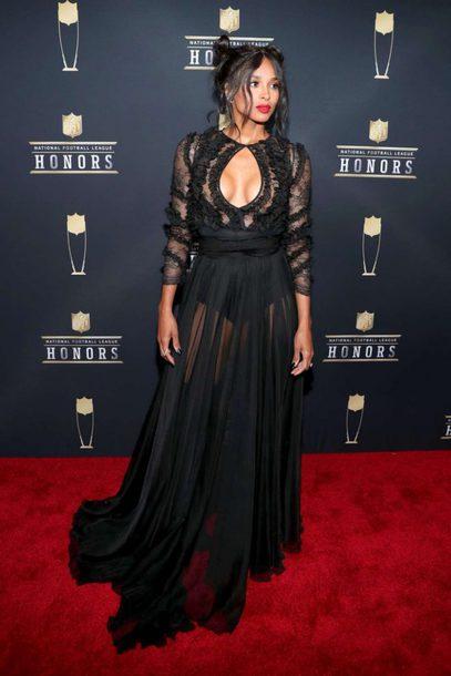 Dress Gown Ciara Black Dress Keyhole Dress Red Carpet Dress