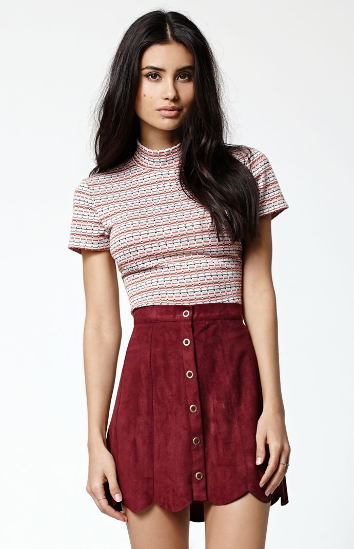 Kendall   Kylie Mock Neck Short Sleeve Top at PacSun.com fa7e90cc6