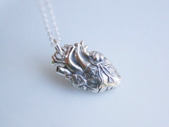 anatomical heart heart jewels silver silver necklace heart necklace tumblr pretty
