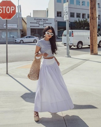 skirt maxi skirt white skirt top grey top bag net bag crop tops sandals wedge sandals