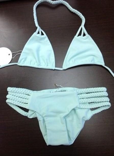 swimwear teal braided bikini