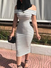 dress,fold over,tight,bandage,white,off the shoulder,black dress,black,horizontal stripes