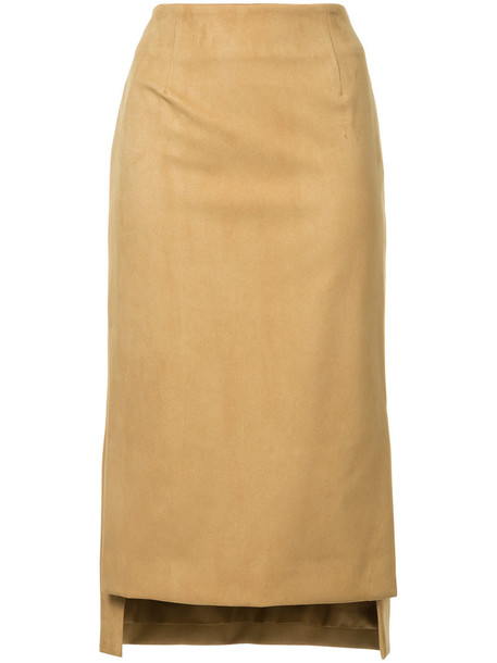skirt pencil skirt high women high low leather suede brown