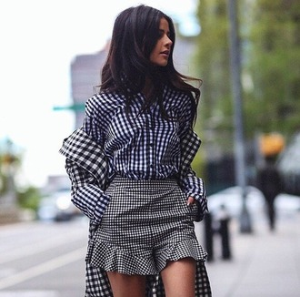 shorts topshop gingham black and white blogger high waisted ruffle summer outfits summer shirt spring outfits shirt coat