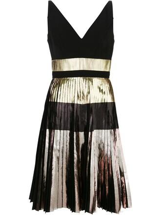 dress metallic dress pleated metallic black
