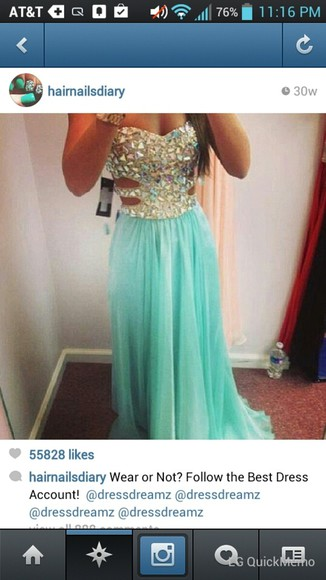dress teal dress long prom dress embellished dress