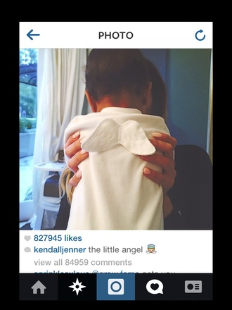 pajamas baby angel wings babygrow white kendall jenner instagram