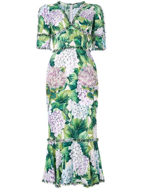 Dolce & Gabbana dress print dress women spandex print silk green