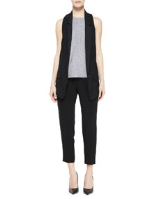 Ines Racerback Suiting Vest, Adeline Patterned Sleeveless Top & Park Cropped Tapered Crepe Pants