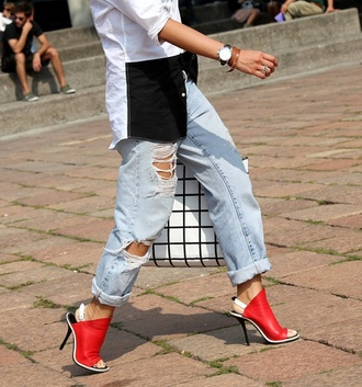 jeans boyfriend jeans acid wash faded vintage ripped streetstyle folded jeans shoes