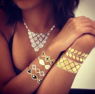 jewels jewelry tattoo fake tattoos metallic metallic tattoo temporary tattoo gold gold tattoos accessories