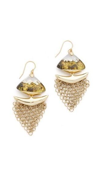 mesh earrings gold grey jewels