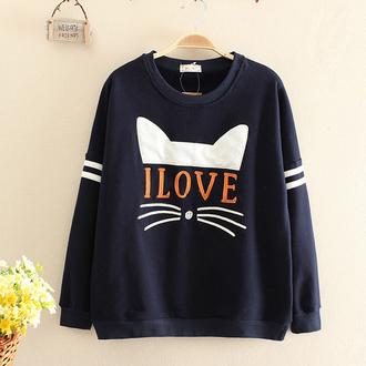 sweater cats trendy black sweatshirt long sleeves i love cat sweatshirts kawaii cute teenagers