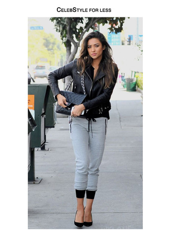 jacket celebstyle for less shay mitchell leather jacket perfecto top grey sweatpants quilted bag black heels grey
