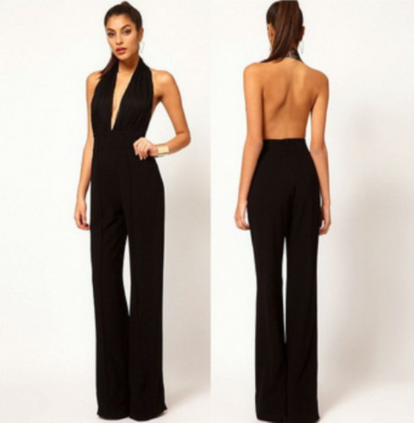 jumpsuit black backless plunge v neck