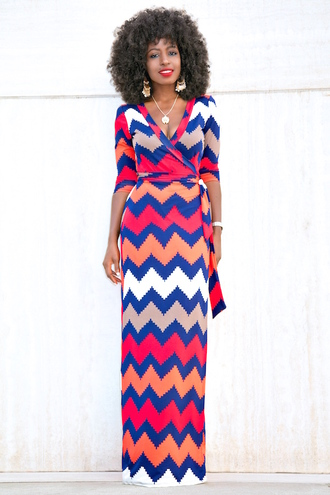 blogger dress shoes black girls killin it maxi dress colorful jewels jewelry make-up chevron dresses chevron wrap dress printed dress earrings statement earrings three-quarter sleeves date outfit
