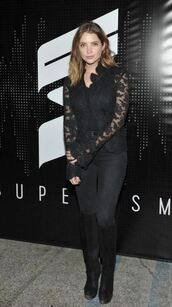 jacket,lace,jeans,ashley benson,all black everything,boots,blouse,top