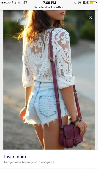 shirt lace shirt cute white summer top
