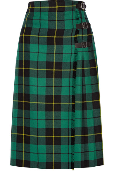 Gucci - Pleated tartan wool skirt